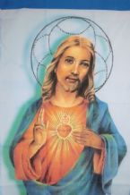 JESUS WITH SACRED HEART -  2 feet 4 ins x 3 feet 4 ins FLAG